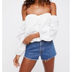 Free People White In the Limelight Top